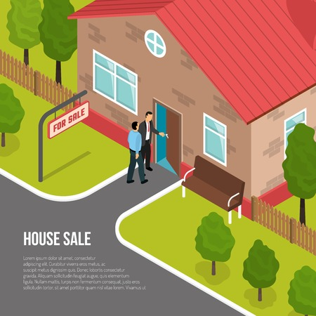 Illustration pour House sale isometric vector illustration with buyer and employee of real estate agency showing one storey cottage - image libre de droit
