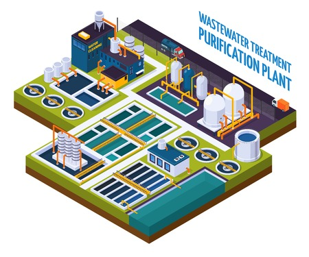 Ilustración de Purification plant with water cleaning, pumping station, filters, separators, isometric composition with trucks on road vector illustration - Imagen libre de derechos