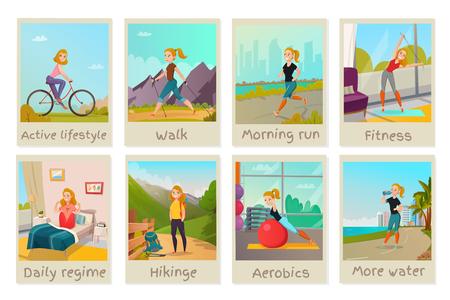 Ilustración de Healthy lifestyle cards set with young female doing presenting good habits isolated vector illustration - Imagen libre de derechos