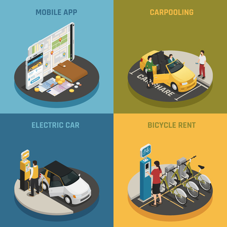 Illustration pour Carsharing design concept with mobile app icons isometric vector illustration. - image libre de droit