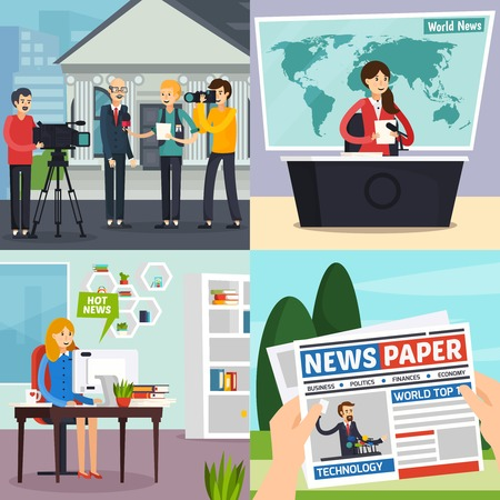 Illustration pour News, orthogonal design concept including reporter with interview, tv studio with program, blogger, newspaper, isolated vector illustration - image libre de droit