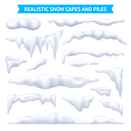 Illustrazione per Snow, white capes and piles realistic set, isolated vector illustration - Immagini Royalty Free