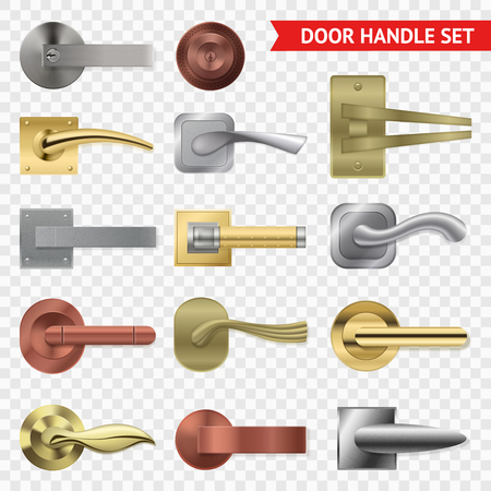 Ilustración de Realistic door handle transparent set with isolated images of metal twist levers of different shape, vector illustration - Imagen libre de derechos