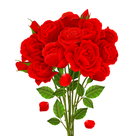 Ilustración de Rose bouquet, red flowers and green leaves, realistic vector illustration - Imagen libre de derechos