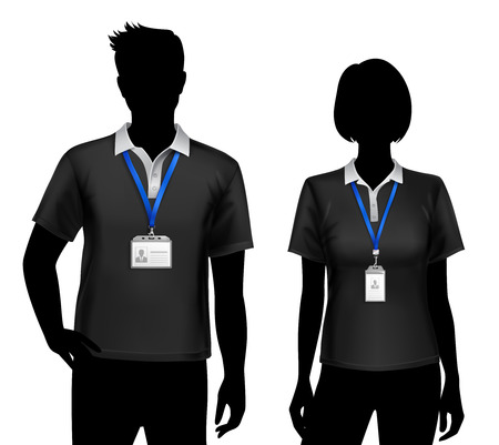 Illustration pour Black silhouettes of staff members man woman standing with blue lanyard id card badges holders vector illustration - image libre de droit