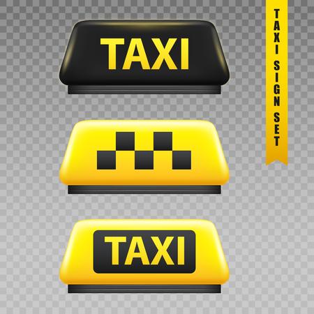 Illustration pour Taxi yellow sign transparent set realistic isolated vector illustration - image libre de droit