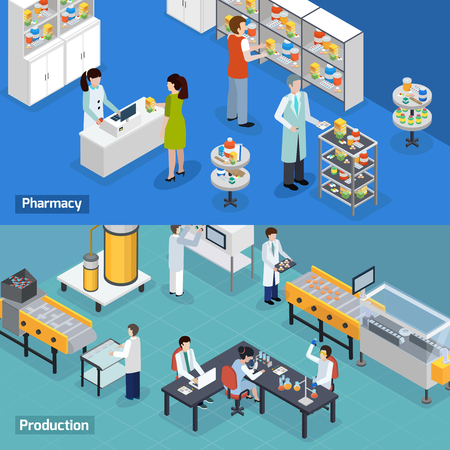 Illustration pour Pharmaceutical production 2 isometric horizontal banners with medical research tests manufacturing and drugstore services isolated vector illustration - image libre de droit