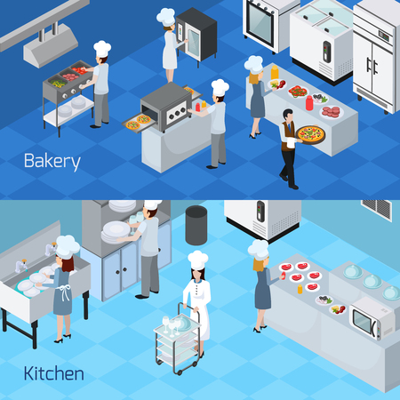 Illustration pour Bakery kitchen interior furniture equipment appliances  2 horizontal isometric banners with cooking staff members isolated vector illustration - image libre de droit
