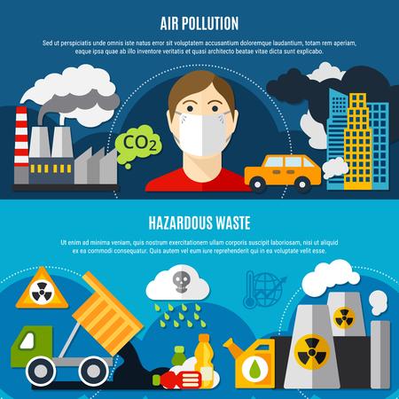 Ilustración de Pollution problem horizontal banners set with air pollution and waste symbols flat isolated vector illustration - Imagen libre de derechos