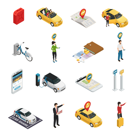 Illustration pour Carsharing carpooling ridesharing isometric  icons with people using individual and collective reservation of cars via web application isolated vector illustration - image libre de droit