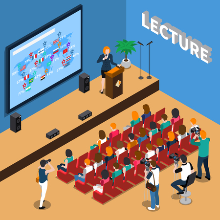 Illustration for Lecture isometric composition with orator near tribune, people in auditorium, screen and loudspeakers, photo reporters vector illustration - Royalty Free Image