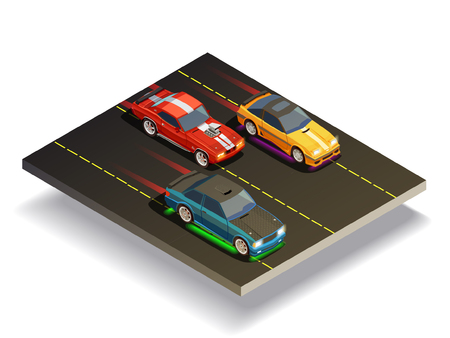 Illustration pour Street racing drift isometric composition of three fast racing cars with different decals on race course vector illustration - image libre de droit
