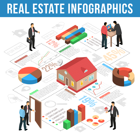 Illustration pour Real estate agency infographics isometric layout with graphs charts and statistics of sales vector illustration - image libre de droit