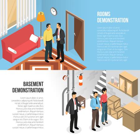 Illustration pour Real estate agency horizontal banners design template, illustration. - image libre de droit
