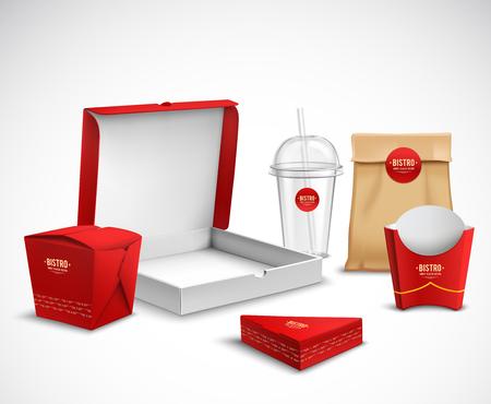Ilustración de Fast food packaging corporate identity realistic templates samples set red white natural with pizza box vector illustration - Imagen libre de derechos