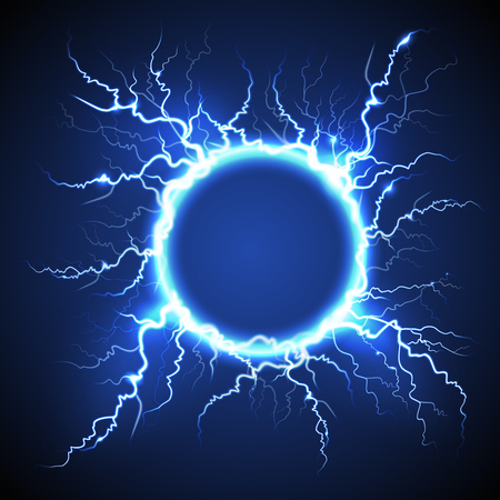 Ilustración de Luminous electric circle lightning atmospheric phenomenon realistic image on dark night sky blue decorative background vector illustration - Imagen libre de derechos