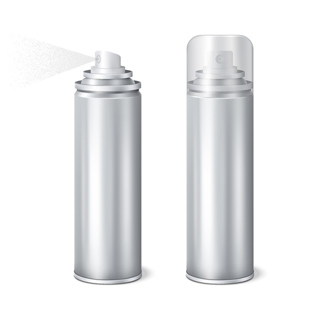 Illustration pour Aluminium aerosol 2 shining realistic mockup cans templates set with cap on and removed spraying vector illustration - image libre de droit