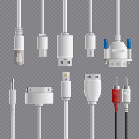 Illustrazione per Realistic cable connectors types transparent set with images of computer and multimedia connectors on transparent background - Immagini Royalty Free