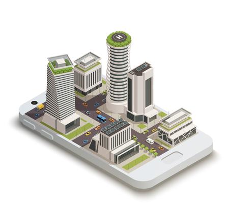 Ilustración de Smart city center tower buildings with sustainable green energy roof gardens on smartphone screen isometric composition vector illustration - Imagen libre de derechos