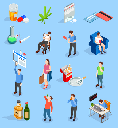Illustrazione per Bad habits of people isometric icons with drugs, alcohol, smoking,  workaholism, social media, shopping isolated vector illustration - Immagini Royalty Free