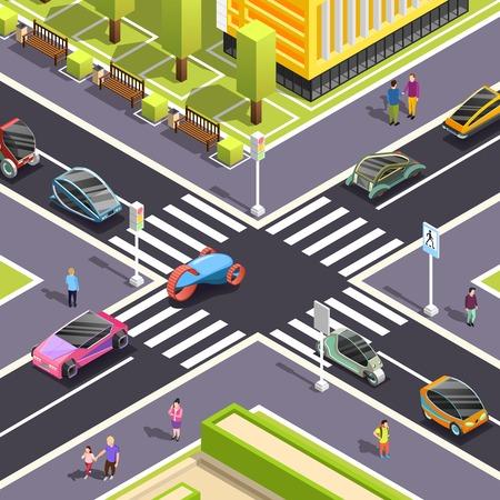 Ilustración de Fragment of city top view with crossroad streets pedestrian zone and futuristic transport isometric vector illustration - Imagen libre de derechos