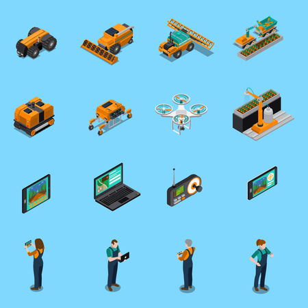 Illustration pour Agricultural robots isometric icons with drone, unmanned machinery for cultivation, farmers with control panel isolated vector illustration - image libre de droit