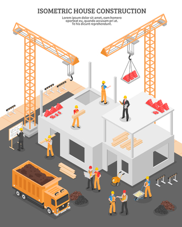 Illustration pour Isometric building composition with view of construction site with images of stationary hoists and incomplete house vector illustration - image libre de droit