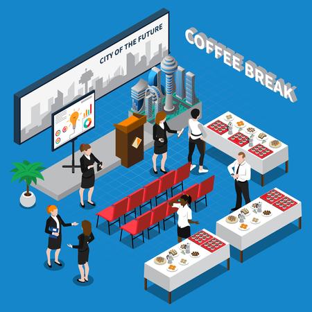 Ilustración de Coffee break isometric composition including business people in auditorium with drinks and snacks on tables vector illustration - Imagen libre de derechos