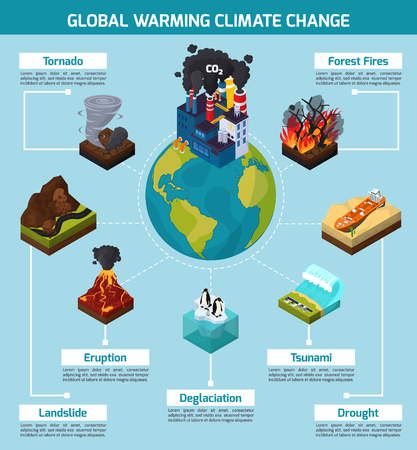 Illustration for Global warming climate change orthogonal. Isometric infographics with natural disasters, earth and factory. - Royalty Free Image