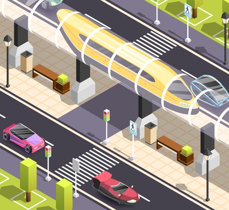 Ilustración de Futuristic city constructor. Isometric background with road sidewalk cars and high speed tram. - Imagen libre de derechos