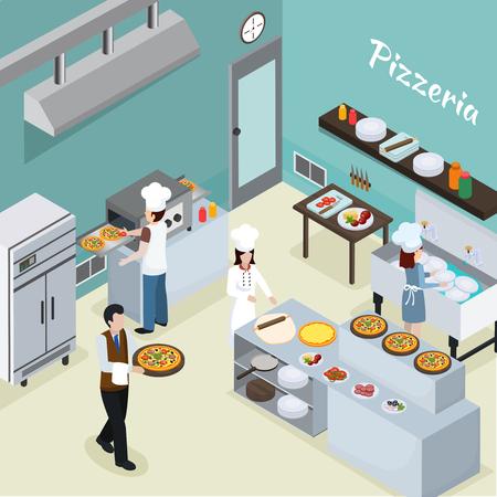 Illustration pour Pizzeria commercial kitchen facility interior background with mini conveyor bake oven and waiter serving pizza vector illustration - image libre de droit