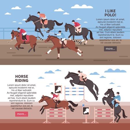 Ilustración de Flat horizontal banners with horse riding with hurdles and polo players  during game isolated vector illustration - Imagen libre de derechos
