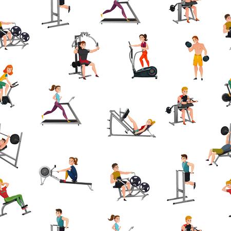 Ilustración de Seamless pattern with smiling men and women at exercise equipment on white background vector illustration - Imagen libre de derechos