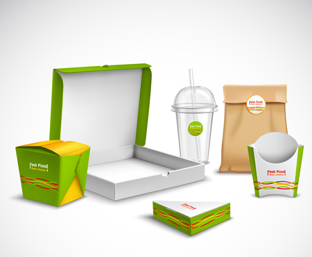 Illustration for Fast food packaging corporate identity realistic templates samples set with vibrant green-white  pizza box vector illustration - Royalty Free Image