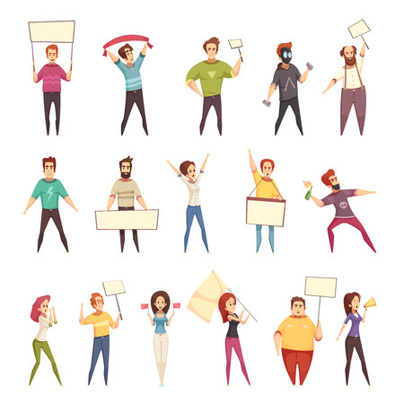 Illustrazione per Protesting people decorative icons set of young men and women demonstrating protest with placards and flags isolated cartoon vector illustration - Immagini Royalty Free