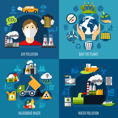 Ilustración de Environmental problems concept icons set vector illustration. - Imagen libre de derechos