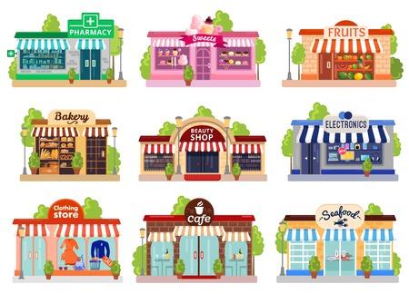 Ilustración de Bright colorful facades of six stores and cafes isolated on white background flat vector illustration - Imagen libre de derechos