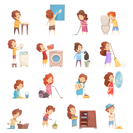 Ilustración de Kids cleaning retro cartoon icons set with children vacuum sweeping washing dishes feeding pets isolated vector illustration - Imagen libre de derechos