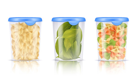 Illustration pour Three isolated filled plastic food containers icon set with pasta and dried bay leaves vector illustration - image libre de droit
