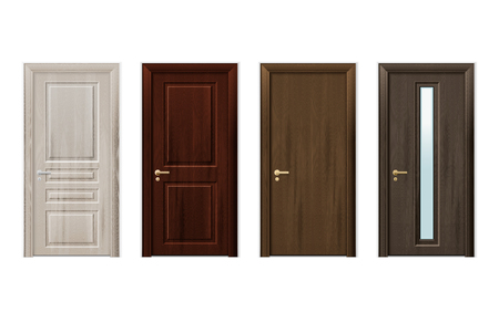 Illustration pour Four isolated and realistic wooden doors design icon set in different styles and colors vector illustration - image libre de droit