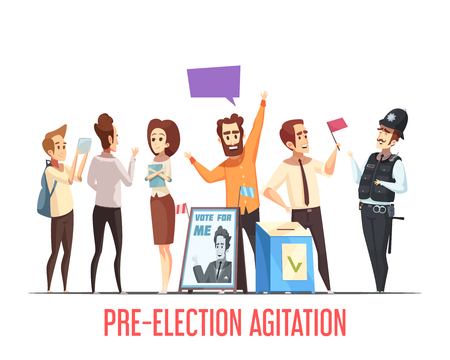 Illustration pour Pre-election canvassing campaigning with candidates talking to people political cartoon composition with ballot box vector illustration - image libre de droit