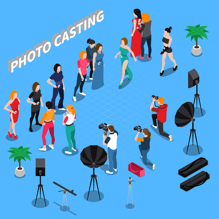 Illustration pour Photo casting isometric composition with girl models, photographers with professional equipment on blue background vector illustration - image libre de droit