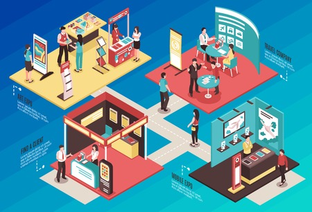 Ilustración de Isometric expo stand exhibition horizontal composition with text and images of different exhibit booths with people vector illustration - Imagen libre de derechos