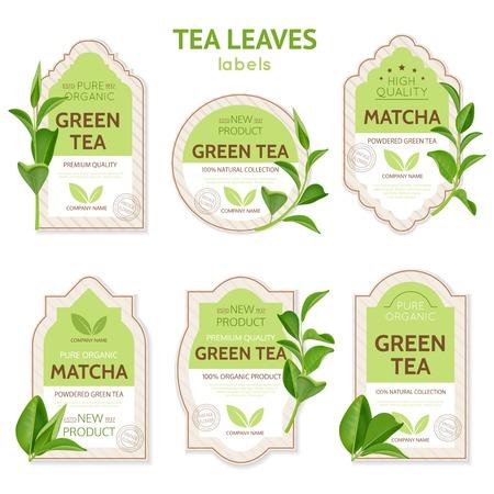 Ilustración de Set of labels of various shape with brand identity and realistic tea leaves isolated vector illustration - Imagen libre de derechos