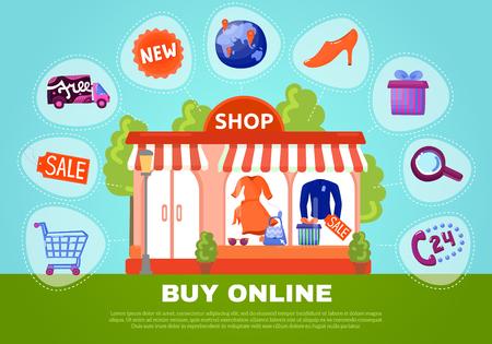 Ilustración de Buy online poster with shop showcase in centre and search sale basket delivery flat icons around vector illustration - Imagen libre de derechos