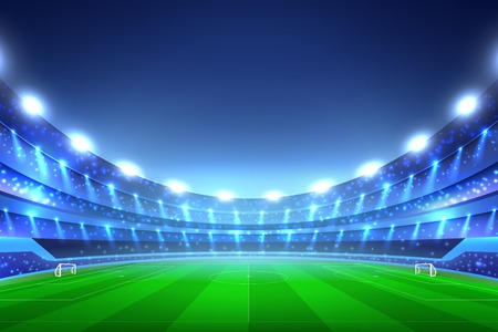 Illustration pour Soccer stadium perspective background with green lawn and white gates, tribunes with spotlights, blue sky vector illustration - image libre de droit