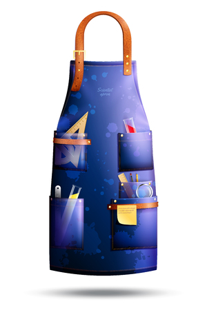 Illustration pour Realistic blue spotted apron of scientist with leather elements and professional tools in pockets isolated vector illustration - image libre de droit