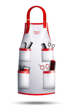 Illustration pour Realistic hairdresser red white apron with leather loop, metal rivets, professional instruments in pockets isolated vector illustration - image libre de droit