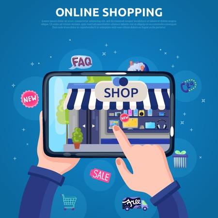 Ilustración de Online shopping poster with people hands selecting goods on tablet screen flat vector illustration - Imagen libre de derechos