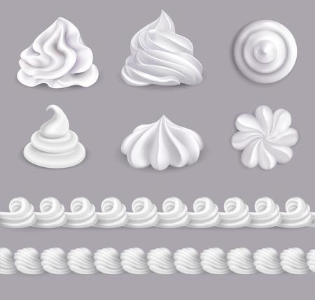 Ilustración de Whipped cream realistic set in different shapes isolated vector illustration - Imagen libre de derechos